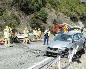 The scene of a two-car crash on State Highway 6 between Queenstown and Kingston yesterday...