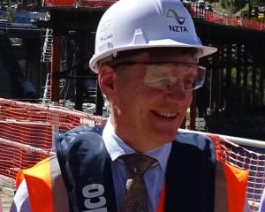 Prime Minister Bill English visits  the Kawarau Falls Bridge project  yesterday. Photo: Tracey...