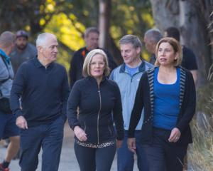 Australian PM Malcolm Turnbull and wife Lucy with PM Bill English and Dr Mary English in...