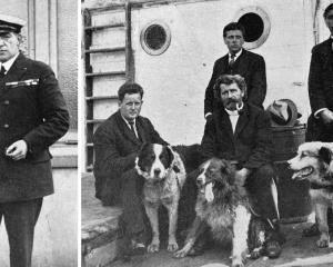 Sir Ernest Shackleton (left) and some of the men the Aurora brought back from the Ross Sea (from...
