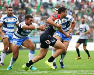 Shaun Johnson in action for the Warriors in their trial match against the Gold Coast Titans at...
