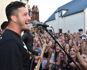 Six60 singer Matiu Wallace entertains the crowd. Photo: Gregor Richardson