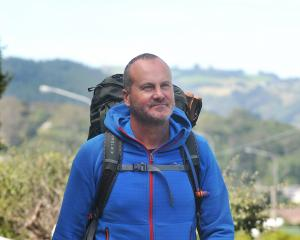 Long-distance walker Mark Kerr prepares to leave Dunedin yesterday. PHOTO: CHRISTINE O'CONNOR