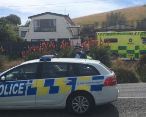 Police and ambulance staff attend the Taieri Mouth house where a man was arrested after an...