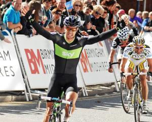 Henderson powers to the line to win stage two of the Tour of Britain at Stoke-on-Trent in 2010....