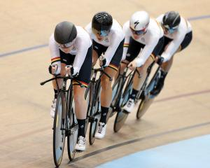 The crack Waikato-Bay of Plenty women's team pursuit combination of (from left) Racquel Sheath,...