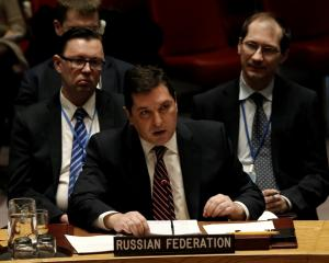 Russian Deputy Ambassador to the United Nations Vladimir Safronkov speaks during the UN Security...