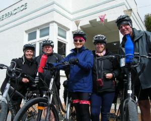 Electric bike riders (from left) Jenny Martin, Herb and Fiona Isherwood, of Auckland, and Dale...
