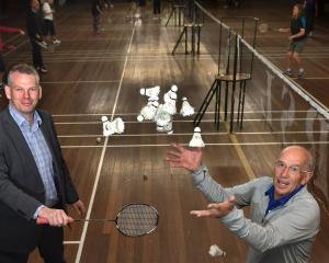 Otago Badminton Association chairman Nathan Pitcher (left) and coaching co-ordinator Jim Hoffman...
