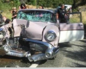 The classic car collided with a motorcycle. Photo: supplied