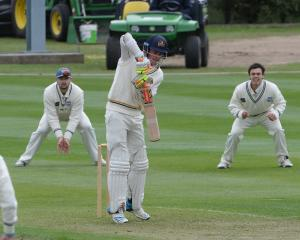 Otago batsman Gregor Croudis defends a ball in his innings yesterday while Auckland slips...