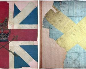 The King's colour of Barrell's Regiment of Foot (left) and the Jacobite colour carried by the...