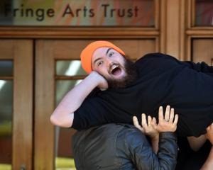Comedian Cameron McLeod as his alter-ego Steve is lifted outside Dunedin Fringe Festival...
