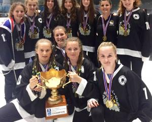 Southern region members of the victorious national under-18 women's ice hockey team were (back...
