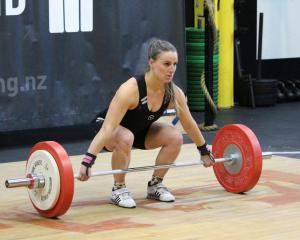 Amanda Gould in action at the South Island Weightlifting Championships in Dunedin last July....