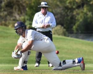 Otago double centurion Anaru Kitchen guides the ball into the legside against Northern Districts...