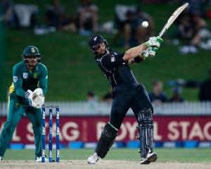 Martin Guptill batting for New Zealand against South Africa last night. Photo: Getty Images