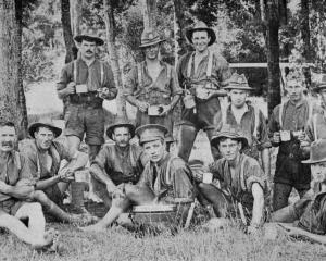 North Otago boys on a route march. Back row (from left): Privates T. C. Reid, S. Jenkins, D. C....