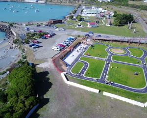 The children's bike park shortly after it opened in Oamaru on Saturday. Photo: Damien McNamara.