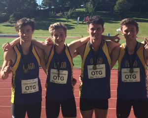 Cameron Miller, Sam Gouverneur, Felix MacDonald and Matthew Ogle celebrate after winning the...