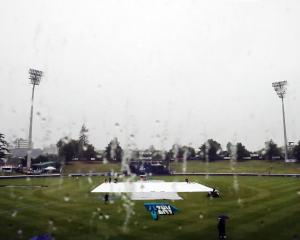 Seddon Park, the venue for the third test, with covers on the pitch during the first ODI between...