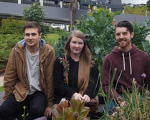 Otago Polytechnic communication design third year students (from left) Liam Hook, Jenah Ferguson...