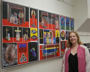St Hilda's Collegiate School year 13 pupil Amy Jones displays her level 3 painting portfolio...