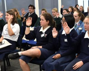 Australian businesswoman Dr Jenine Beekhuyzen addresses Dunedin school pupils yesterday. PHOTO:...