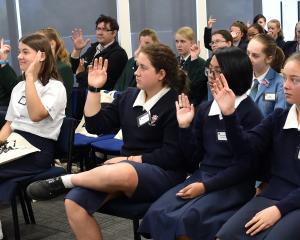 Australian businesswoman Dr Jenine Beekhuyzen addresses Dunedin school pupils yesterday. PHOTO:...