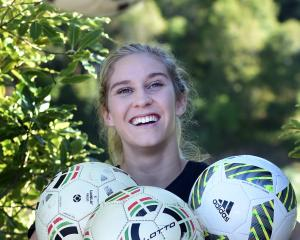 New Football South development officer Tessa Nicol at Logan Park yesterday. Photo by Peter McIntosh.