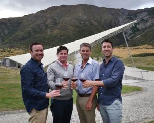 Toasting the future are (from left) Vineyard Brands New Zealand brand manager Tommy Oldre,...