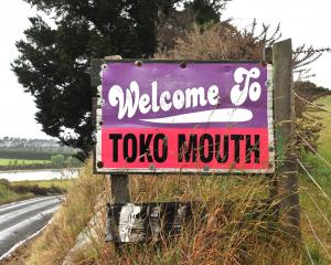 Sign at Toko Mouth. Photo: ODT.