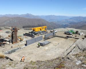 Construction of the top station for the McDougall's Express chondola at Cardrona Alpine Resort is...