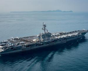 The aircraft carrier USS Carl Vinson transits the Sunda Strait, Indonesia earlier this month....