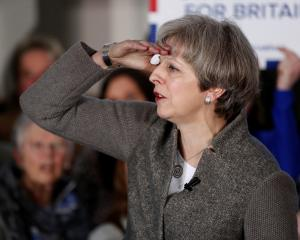 Britain's Prime Minister Theresa May speaks at an election campaign rally near Aberdeen in...