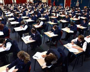 A practice examination in the build-up for external NCEA examinations. Photo by Peter McIntosh.