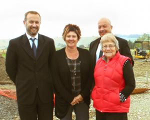 Things are getting under way in Tapanui where (from left) Clutha District Council regulatory service group manager David Campbell, service delivery administrator Julie Gardner, Clutha Mayor Bryan Cadogan (back) and West Otago Board chairwoman Barbara Hann