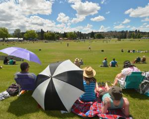 A section of the crowd watches Otago's  domestic twenty20 game against Auckland at Molyneux Park...