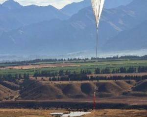 The first Nasa super-pressure balloon soars skywards in the first launch at Wanaka Airport in...