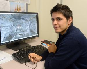Damien Houvet, a master's student at the School of Surveying (ESGT) in France, with a...