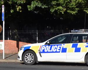 Police at the scene of incident involving a knife-wielding man at Elmgrove School in Mosgiel...