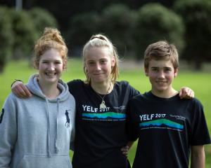 Natalie Candy (left, 16) of Blue Mountain College, Tasman Charteris-Wright (15) of Bayfield High School and Ben Mitchell (16) of John McGlashan College have spent the week at the Sir Peter Blake Youth EnviroLeader Forum in Auckland. Photo: Brendon O'Hagan