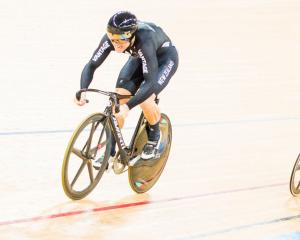 Ethan Mitchell on the way to winning a bronze in the individual sprint at the world cycling...