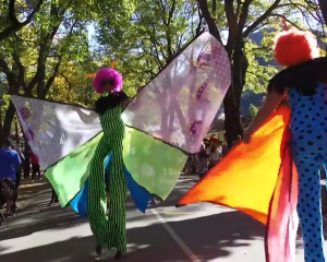Bright costumes and characters were present at the street  parade.