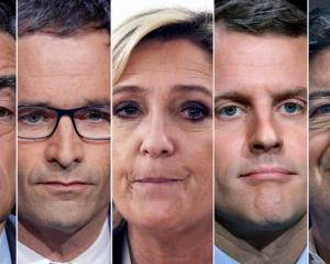 Candidates for the French 2017 presidential election, from L-R, Francois Fillon, the Republicans political party candidate, Benoit Hamon, French Socialist party candidate, Marine Le Pen, French National Front (FN) political party leader, Emmanuel Macron,