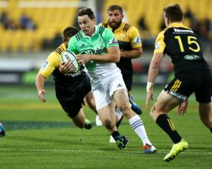 Ben Smith in action for Highlanders against the Hurricanes during their round four match in...