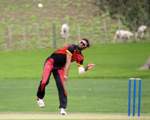 Albion all-rounder Teja Nidamanuru bowls during the recent national club championshiups in Auckland. Photo supplied.