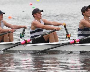 The Otago Boys' High School coxed quads crew (from left) Michael Manson, Jack Holland-Spinks,...