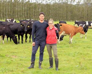 Kaitangata sharemilkers Mathew and Catherine Korteweg have confidence in the future of the dairy industry. Photo by Richard Schofield.
