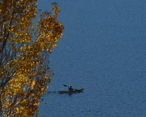 A kayaker makes the most of a resplendent autumn day on Lake Hayes, near Queenstown, earlier this...
